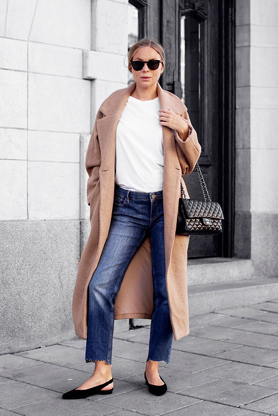 10 Simple Ways To Style A Long Coat: Fashion blogger 'Victoria Tornegren' wearing a camel long coat, a white t-shirt, crop straight jeans, black slingback flats, black sunglasses and a black quilted bag.