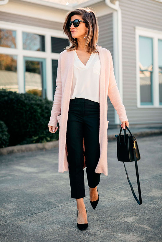 10 Chic Valentine's Outfits For Every Girls Style: Fashion blogger 'Brighton The Day' wearing a blush long cardigan, a white v-neck blouse, black ankle pants, black suede heels, black round sunglasses and a black shoulder bag.