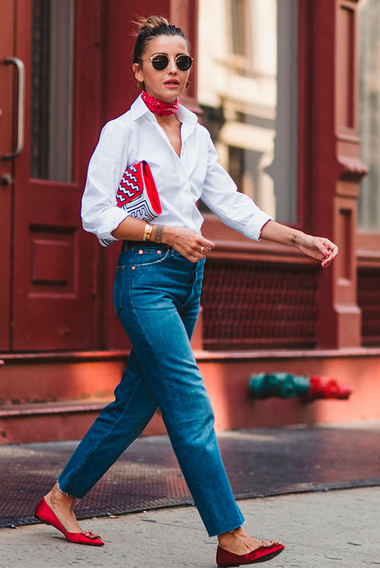 10 Chic Valentine's Outfits For Every Girls Style: Fashion blogger 'Lovely Pepa' wearing a red bandana, a white shirt, straight jeans, red flats, round aviator sunglasses and a red clutch.