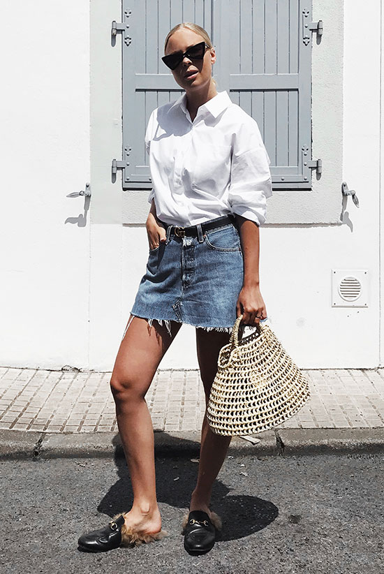 96c8dbe5 Wearing A Denim Mini Skirt Day To Night - Fashion blogger 'Victoria  Tornegren' wearing