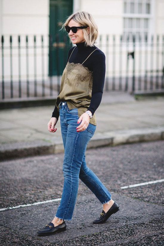 15 Trending Fall Styles To Get Inspired: Fashion blogger 'A Style Album' wearing a black turtleneck, an olive cami top, skinny jeans, black loafers and black cat eye sunglasses. fashion 2018, street style, fall outfit, fall fashion trends, fall trends 2018, trendy outfit, casual outfit, comfy outfit, fall layers, #fashion2018, #fallstyle #streetstyle #casualstyle #camitop #layers #trendy