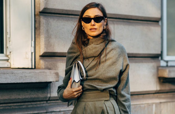 6e16306a The Monochromatic Style, Reenvisioned: Giorgia Tordini wearing an olive  sweater over an olive sweater