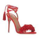 Aquazzura Wild Thing Sandals, red heels, red sandals, red heeled sandals, red lace up sandals, red fringe sandals, red tassel sandals