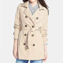 Calvin Klein Double Breasted Trench Coat, beige trench coat, beige belted trench coat, beige detachable hood trench coat, beige hooded trench coat